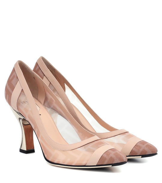 Fendi Colibrì mesh and leather pumps in pink