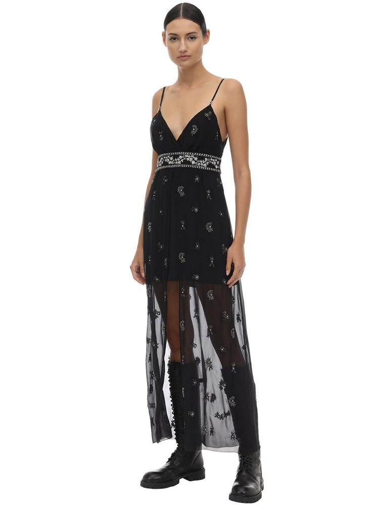 AMIRI Embellished Silk Chiffon Midi Dress in black