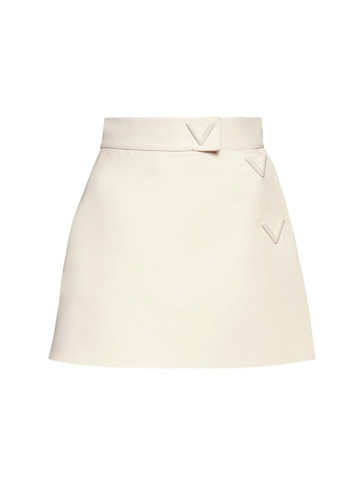VALENTINO V Logo Wool & Silk Couture Shorts in ivory
