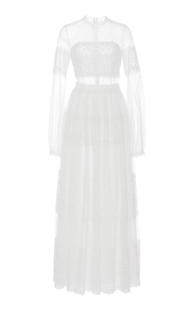 Costarellos Bishop Sleeve Embroidered Tulle Dress in white