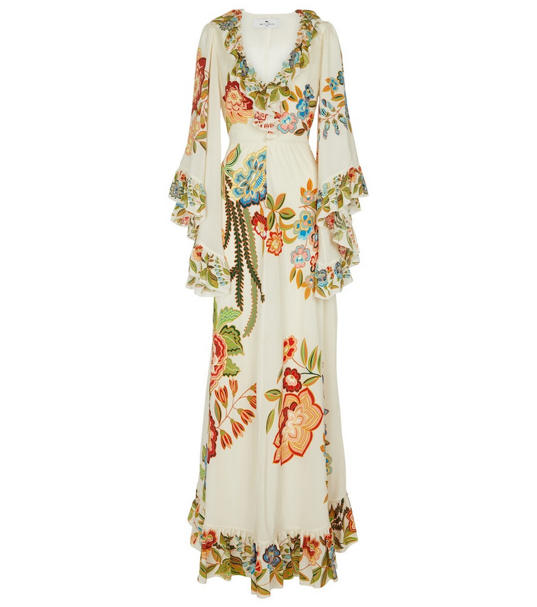 ETRO Floral silk crêpe maxi dress in white