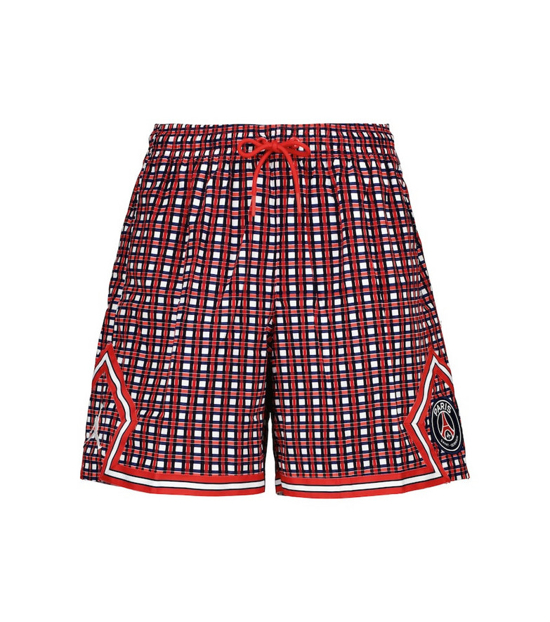 Nike Jordan Paris Saint-Germain checked cotton shorts in red