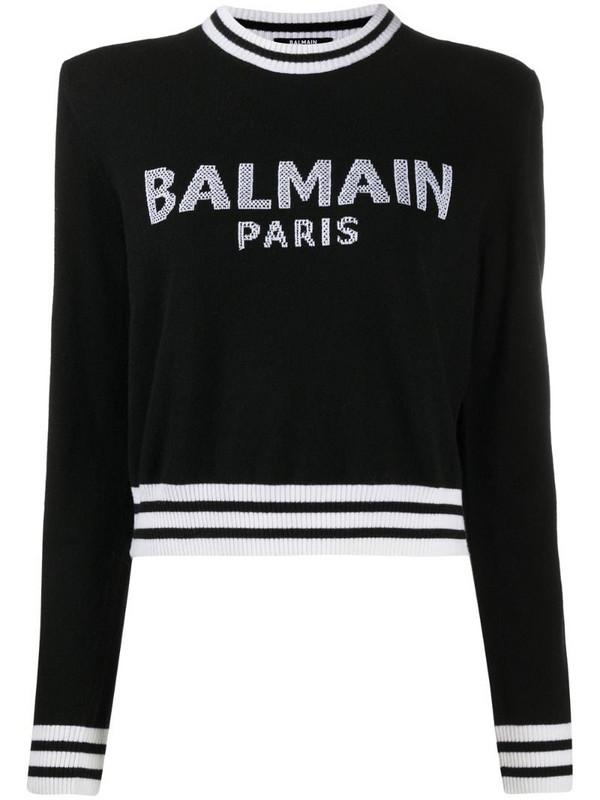 Balmain intarsia-knit logo jumper in black