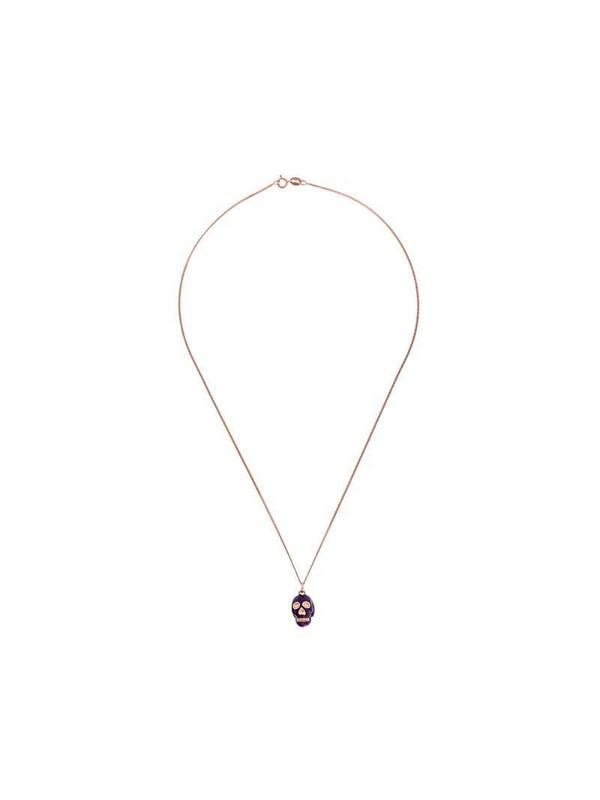 True Rocks purple Skull pendant necklace in gold