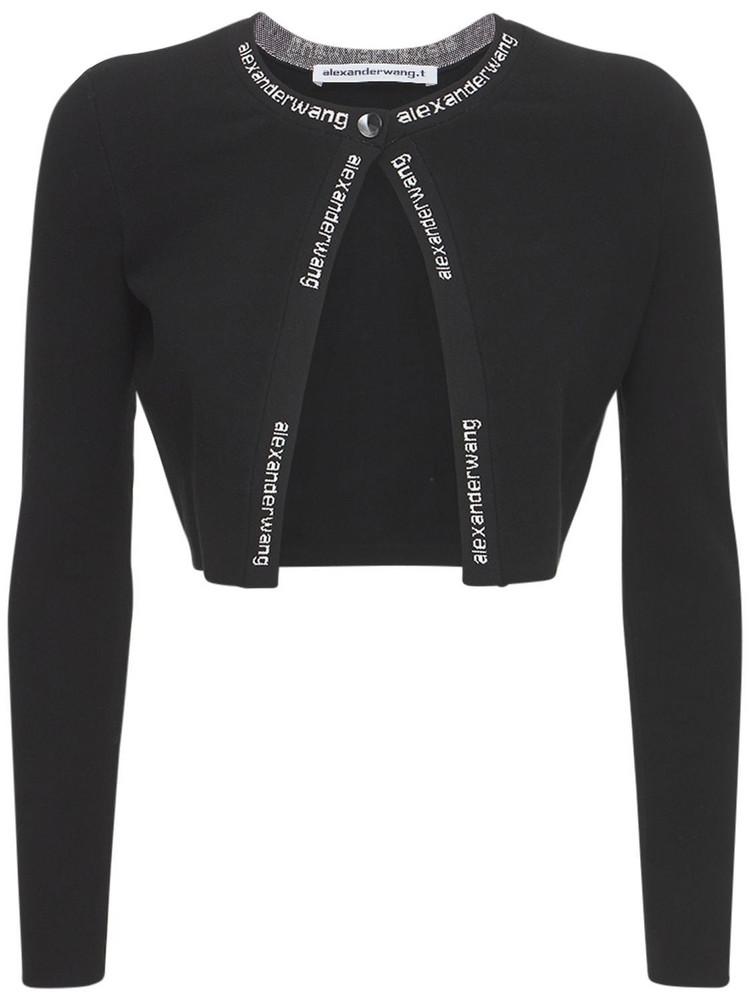 ALEXANDER WANG Stretch Viscose Logo Cardigan in black