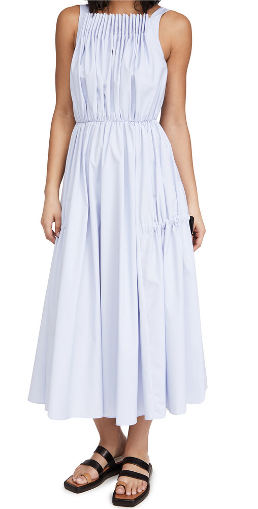 Jason Wu Pleated Dress With Tie Detail in blue