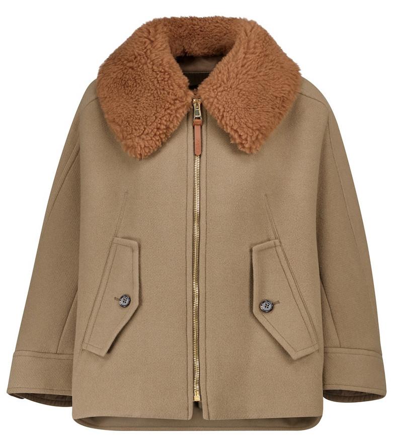 Chloé Shearling-trimmed wool-blend jacket in green