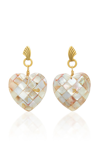 Brinker & Eliza Love You More 24K Gold-Plated Mother-Of-Pearl Earrings in white