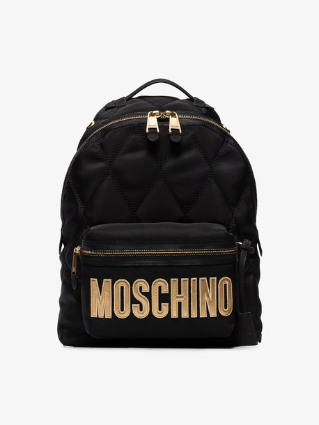 Moschino black large quilted logo backpack