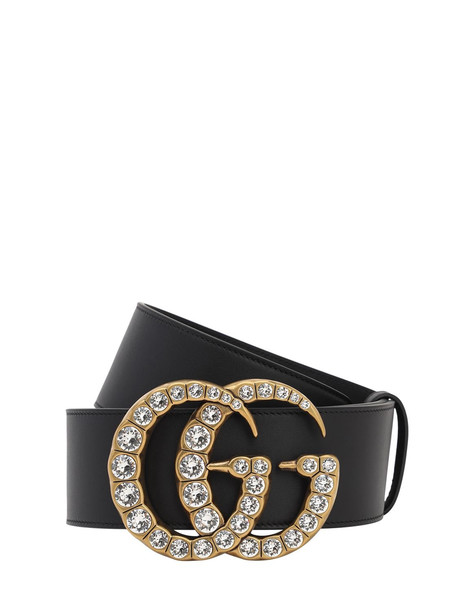 GUCCI 55mm Gg Leather Belt in black