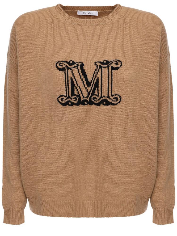 MAX MARA Logo Intarsia Cashmere Knit Sweater in black / camel