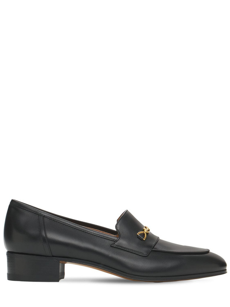 GUCCI 30mm Ed Leather Loafers W/ Horsebit in black
