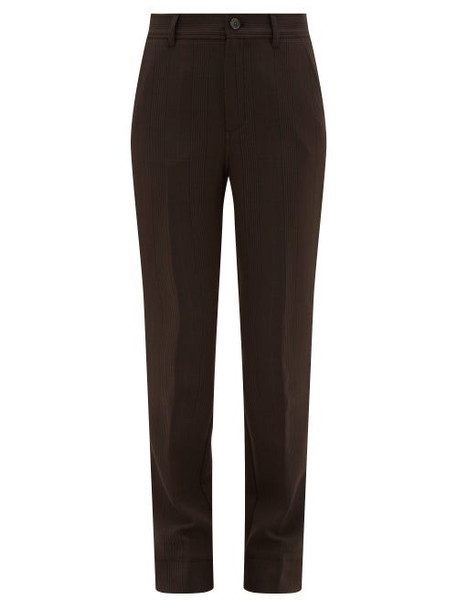 Ganni - Pow-check Straight-leg Tailored Trousers - Womens - Dark Brown