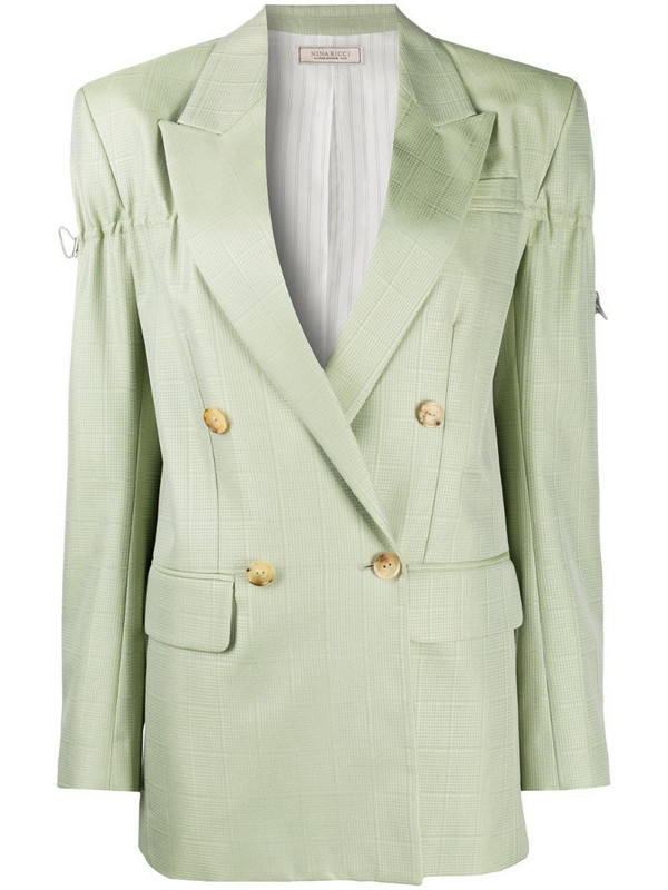 Nina Ricci grid-pattern double-breasted jacket in green