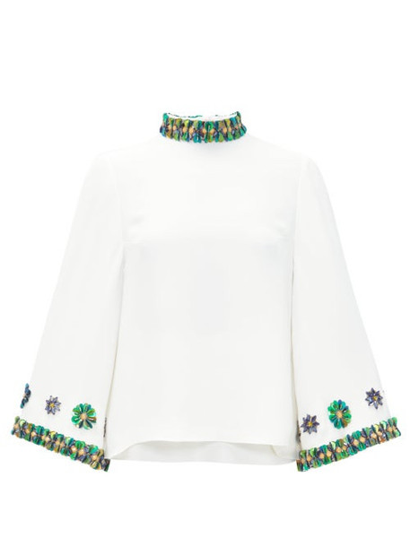 Andrew Gn - Sequin-embellished Flared-sleeve Top - Womens - White
