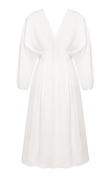 Abadia Pleated Cotton Midi Dress in white