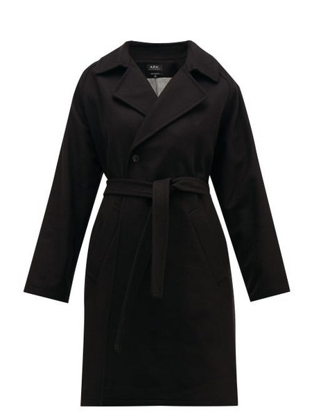 A.P.C. A.p.c. - Bakerstreet Belted Wool Blend Trench Coat - Womens - Black