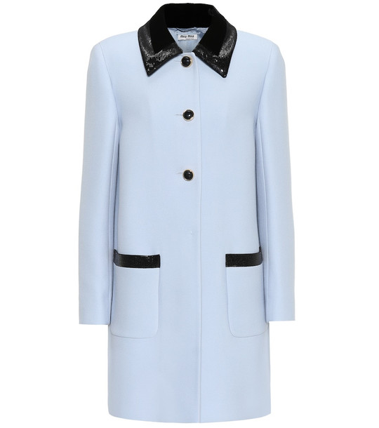 Miu Miu Sequined crêpe coat in blue