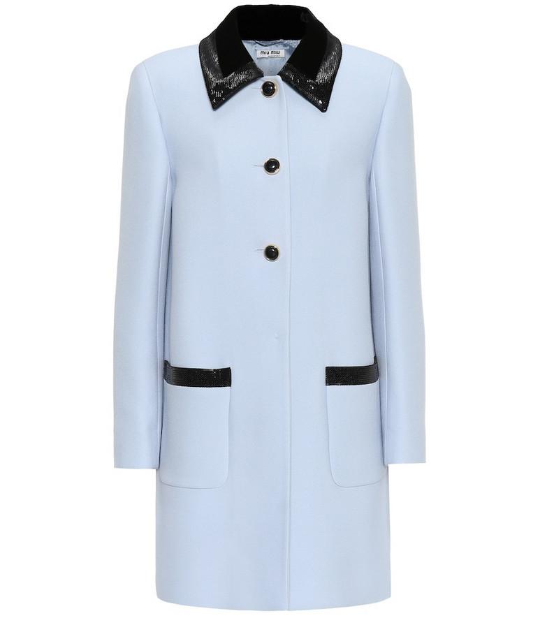 Miu Miu Sequined crêpe coat in blue