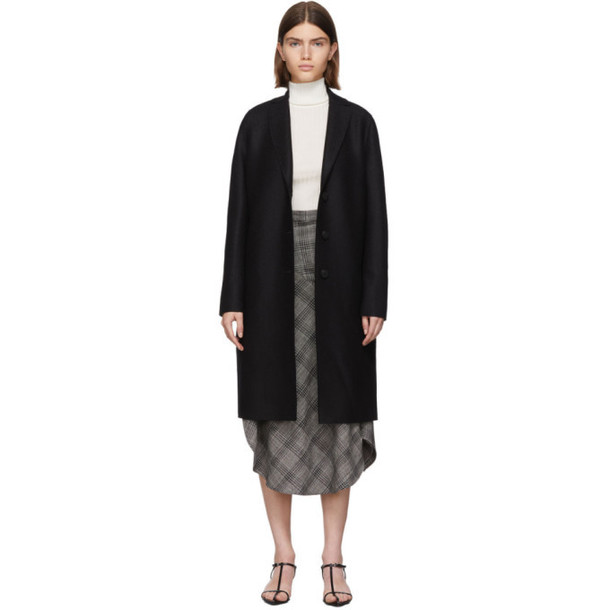 Harris Wharf London Black Pressed Wool Coat