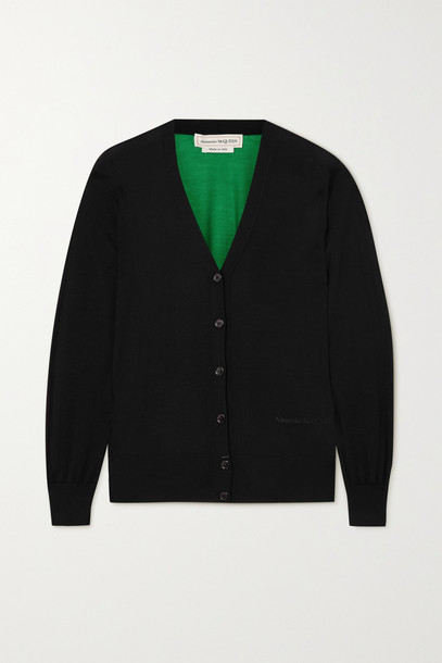 Alexander McQueen - Embroidered Two-tone Cashmere Cardigan - Black