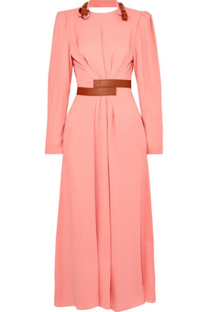 Stella McCartney - Net Sustain Faux Leather-trimmed Crepe Dress - Pink