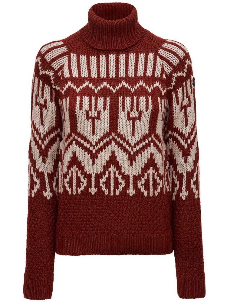 MONCLER Wool Blend Knit Turtleneck Sweater in red