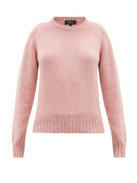 A.P.C. A.P.C. - Alyssa Round-neck Mélange-knitted Sweater - Womens - Pink