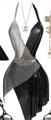 dress,silver dress,black dress,gold jewelry,birthday dress,glitter dress,glitter,silk dress,halter top,slip dress