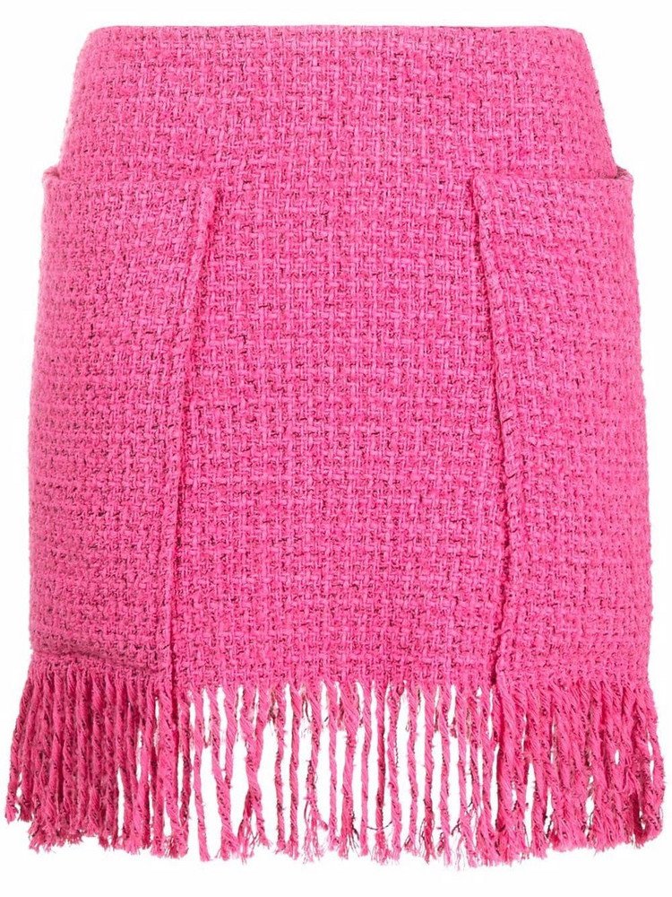 Pinko fringed high-waisted skirt in pink