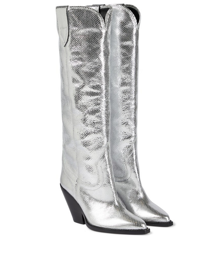 Isabel Marant Lomero leather knee-high boots in silver