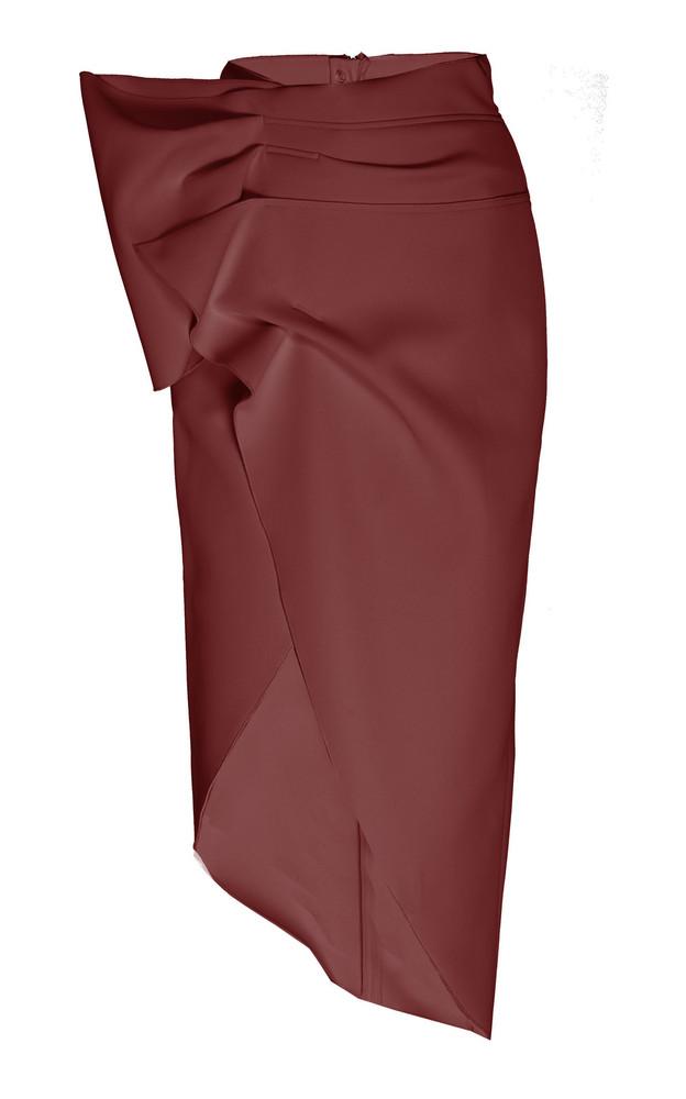 Acler Mancroft Asymmetric Crepe Midi Skirt Size: 2 in burgundy
