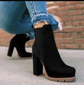 shoes,platfor,black boots,ankle boots,platform high heels,chunky heel,black,platform shoes,high heels,high heels boots