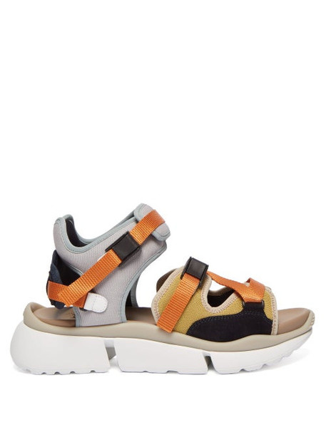 Chloé Chloé - Sonnie Raised Sole Mesh And Suede Trainer Sandals - Womens - Grey Multi