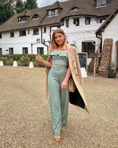pants,wide-leg pants,green,set,crop tops,long coat,camel coat,sandals,shoulder bag