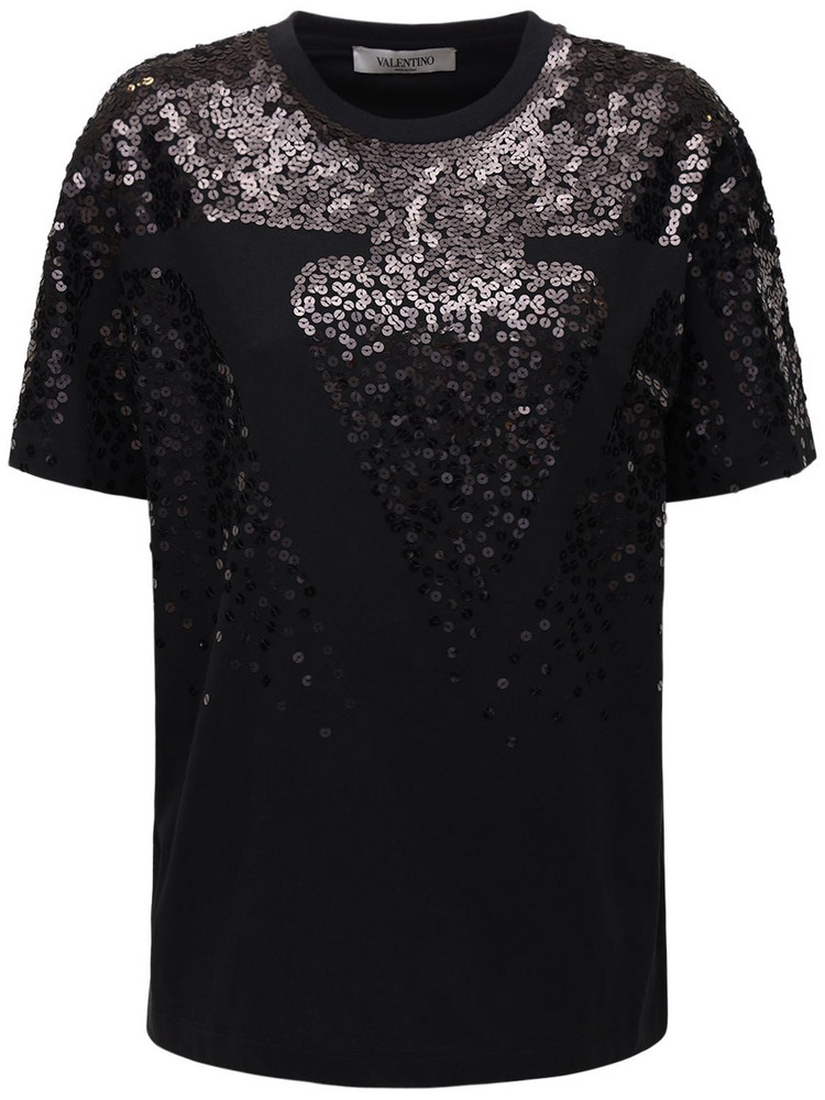 VALENTINO Sequined Cotton Jersey T-shirt in black