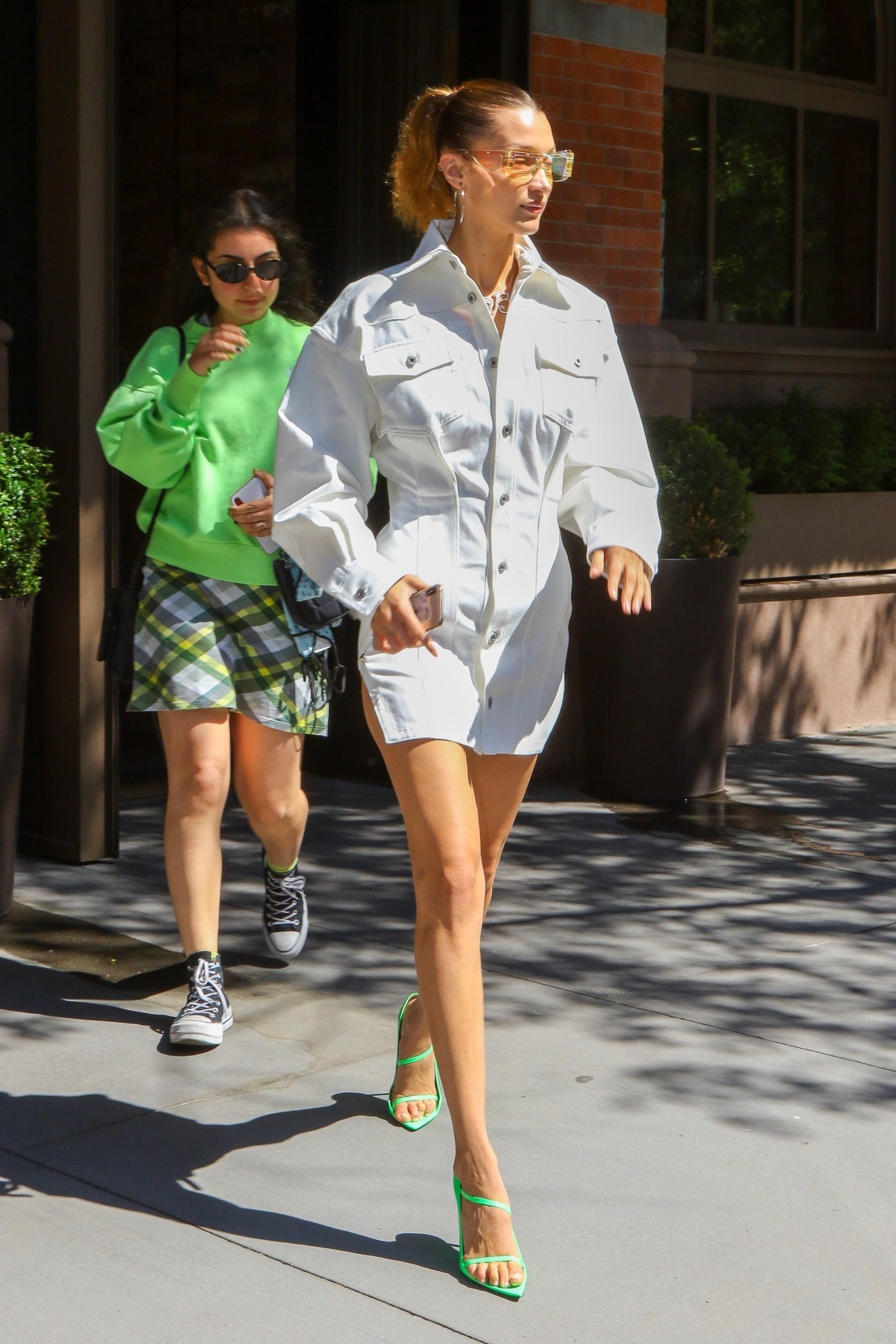 dress white dress white denim denim dress celebrity model off-duty heels sandals bella hadid