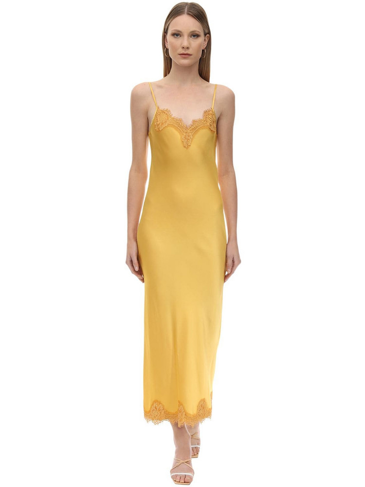 PINK MEMORIES Long Viscose Satin & Lace Dress in yellow