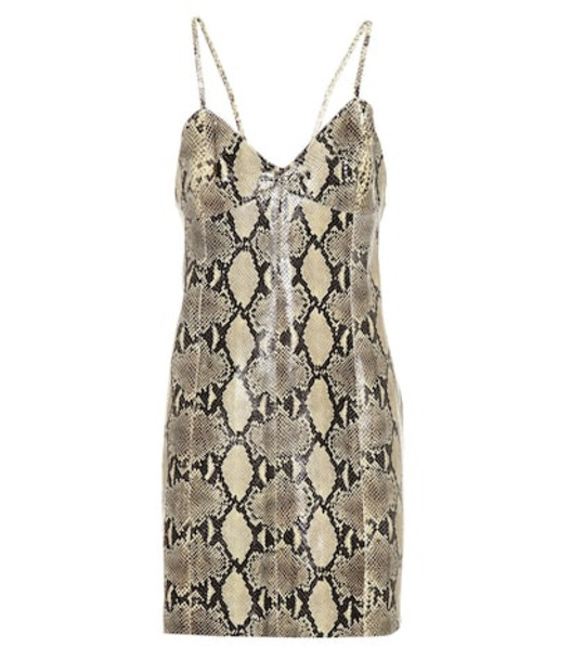 Gucci Snakeskin-printed leather dress in beige