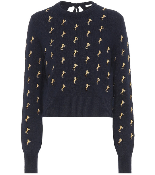 Chloé Embroidered wool sweater in blue