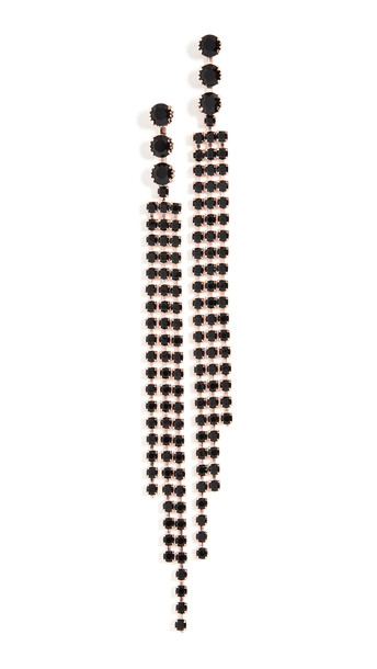 Isabel Marant Crystal Fringe Earrings in black