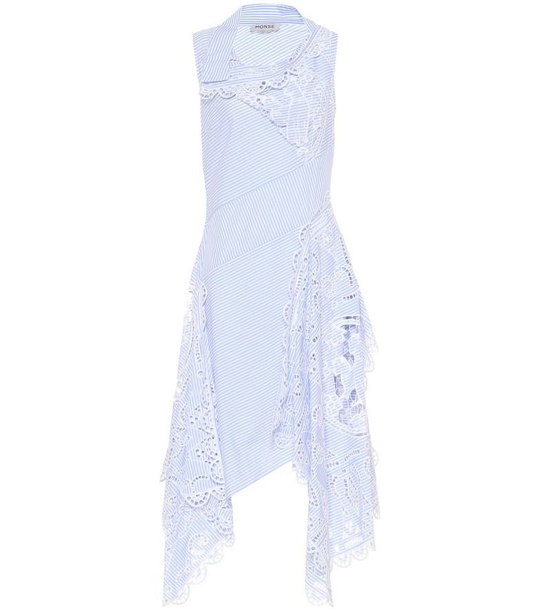 Monse Striped cotton midi dress in blue