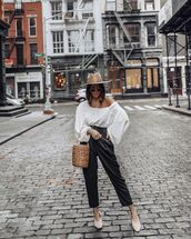 pants,black leather pants,high waisted pants,shoes,white blouse,bucket bag,hat