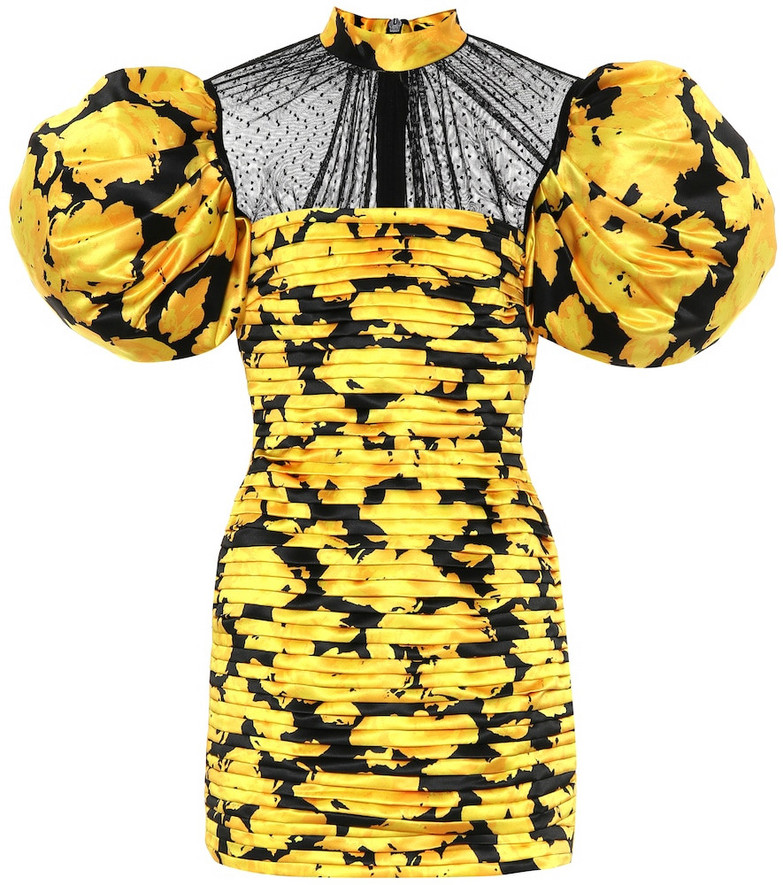 Richard Quinn Duchesse silk-satin minidress in yellow