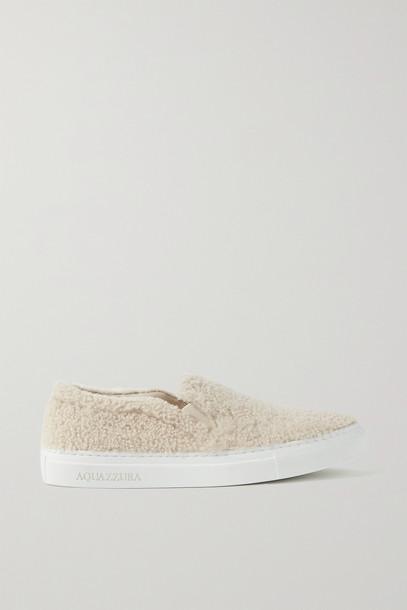 AQUAZZURA - Relax Shearling Sneakers - Cream