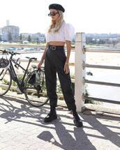 pants,black leather pants,high waisted pants,black boots,black bag,white top,crop tops,beret
