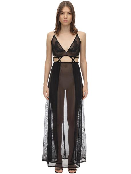 BLUEBELLA Nyla Long Lace & Mesh Chemise in black