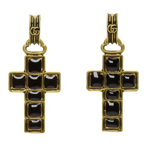 Gucci Black & Gold Cross Pendant Earrings