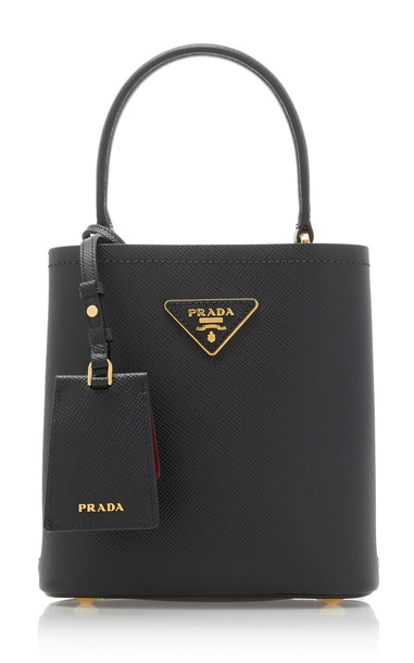 Prada Mini Leather Bucket Bag in black