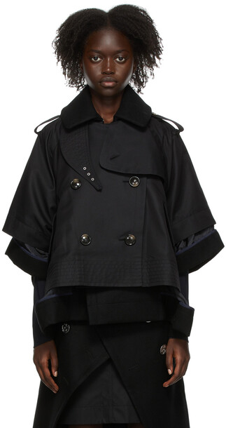 Sacai Black Twill & Melton Jacket